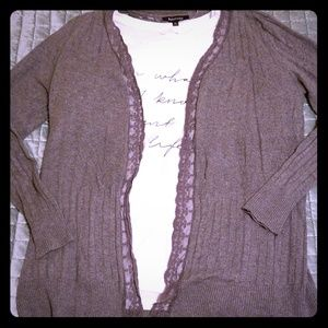Gray open cardigan with eyelet-ish and lace detail